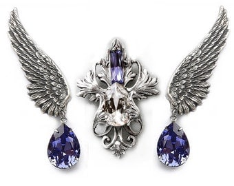 Swarovski Jewelry Bridal Jewelry Set crystal wing earrings Set Victorian Gothic Jewelry Purple Victorian Necklace Earrings gift for her