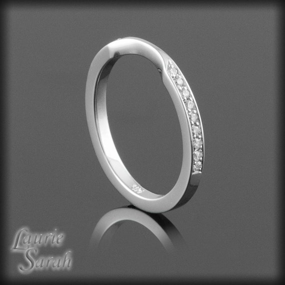 14kt White Gold Diamond Wedding Band with Dip in the Middle - Order For moonman23
