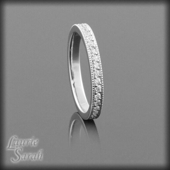 Diamond Wedding Band, Diamond Eternity Band with Milgrain Detail - Pave Set - LS714