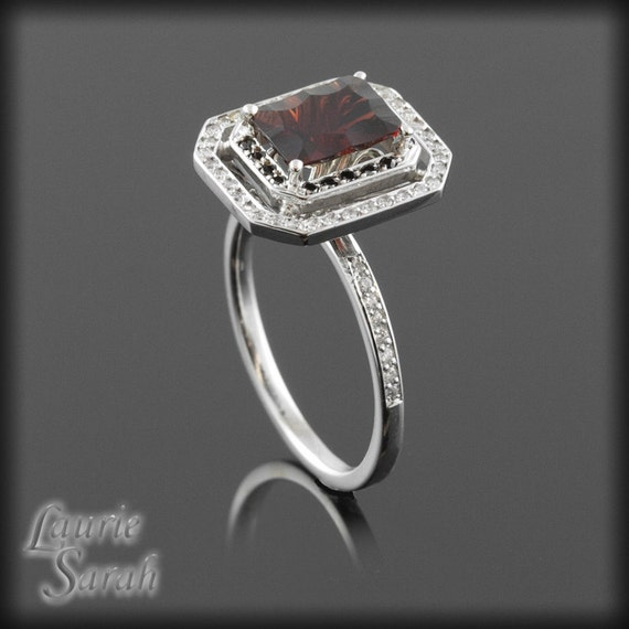 Fancy Cut Rectangle Garnet Engagement Ring by LaurieSarahDesigns