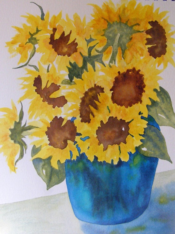 Watercolor Painting of Sunflowers-Sunflower Serenade