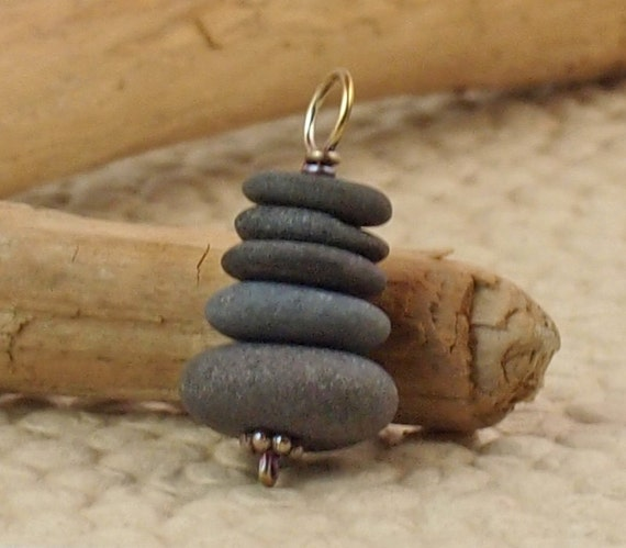 Stone and Copper Pendant - Cape Cod Beach Stone Cairn to mark your way
