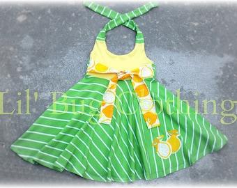 Custom Boutique Lemon Lime Stripes Knit Dress Girls Teen Tween Sizes  7 8 9 10 12 14