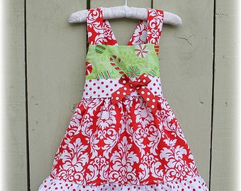 Christmas Holiday Damask Candy and Dots Jumper Dress