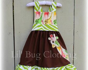 Custom Boutique Clothing Cocoa Lime Zebra Fall Giraffe  Jumper Dress