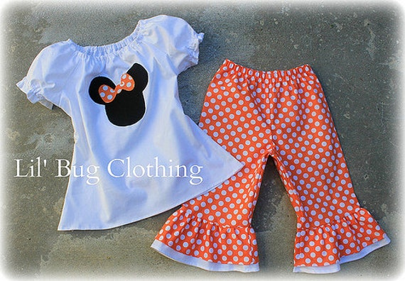 Custom Boutique Clothing Girls  Minnie Mouse Halloween Capri and Peasant Top Orange White Polka Dot