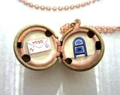 Love Letter Locket - Long-Distance Love - Hand-painted Necklace with I Miss You Message - Gift for Her
