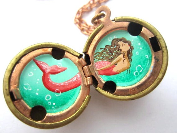 Custom Mermaid Locket - Hand-painted Miniature in Oil Enamel - Personalized Colors of Your Choice