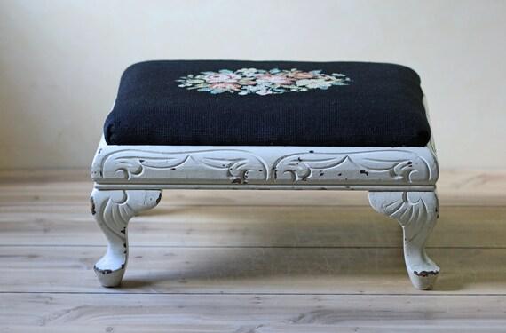 needlepoint footstool / black and white