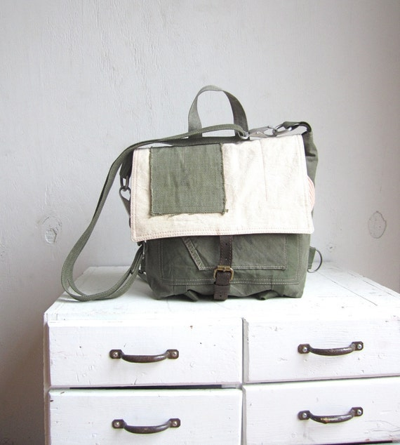 Rural Rustic Repurposed Military Backpack Messenger