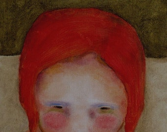 "Giclee print. 13 x 19. wall art girl figure . red head girl portrait.  ""Olive Skies"""