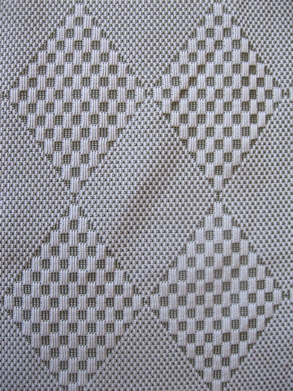 1960's double knit textured fabric, diamond and checkered pattern, sage green and cream, extra wide, 1 yard