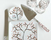 Fall Tree Wedding Reception 6 Piece Personalized Collection - Toasting Flutes, Ring Dish, Cake Plate and Cake Serving Set