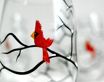 Red Christmas Cardinal Stemless Wine Glass - Single Hand Painted Christmas Glass