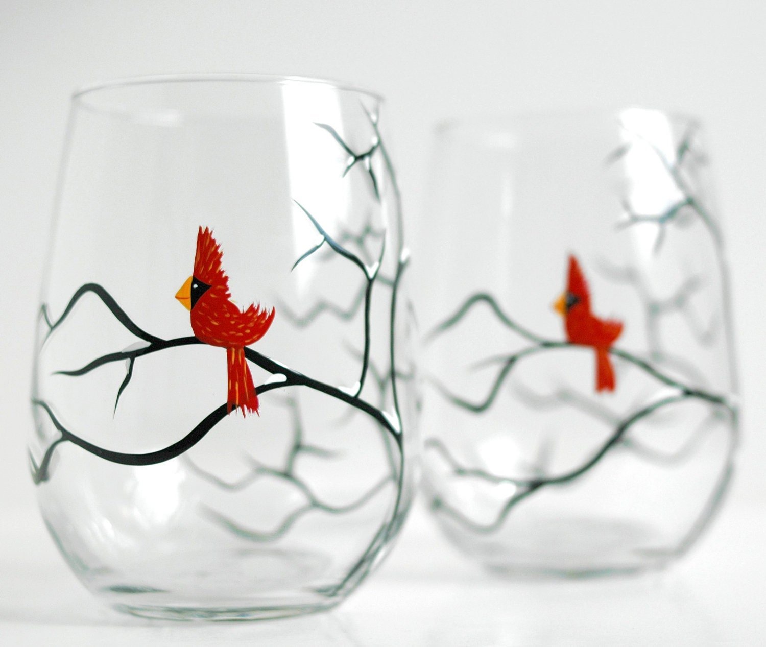 Red christmas cardinal stemless wine glasses set of 2 hand for Hand painted wine glass christmas designs