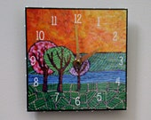 Three Trees Clock, Landscape Clock, Funky, Nature, Whimsical Clock, Bright Colors, Orange, Yellow, Green, Functional Art