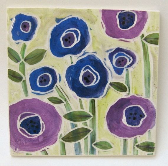 purple and blue garden handcrafted ceramic art tile
