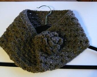 Crochet Cowl Womens Granny Rose in Brown Tweed