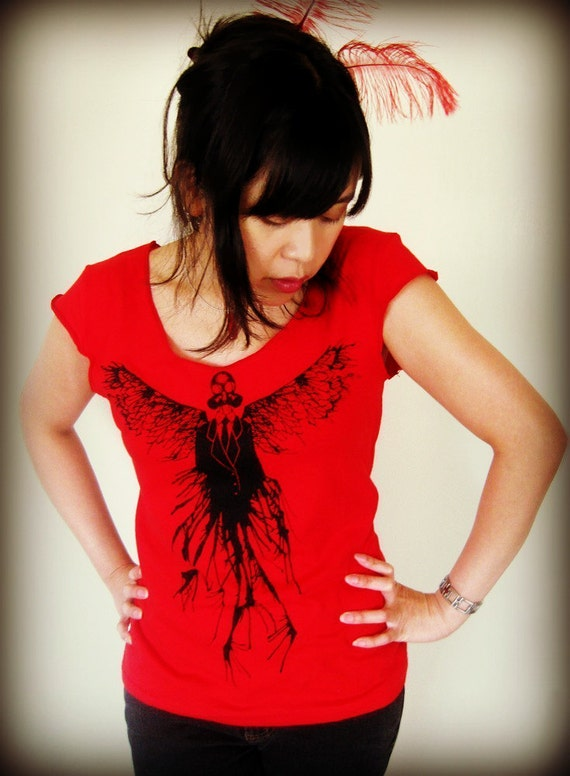 Gas Mask Angel Women's Tshirt - Post Apocalyptic Clothing, Angel Wings Tshirt - Dystopia, Goth Top, Gasmask Shirt