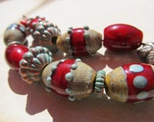 7 Handmade barrel lampwork bead set red  ooak artisan FREE SHIP etsy