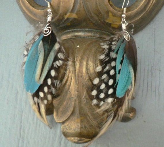 Feather earrings, natural colored speckled with blue feather earrings, cruelty free 3ish inch long feather earrings   b29