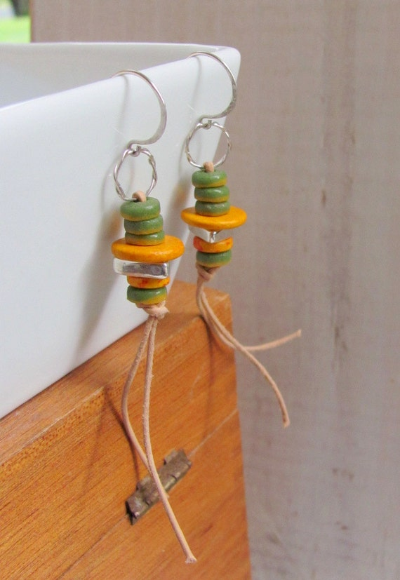 Mustard Earrings - Leather and Ceramic Beads