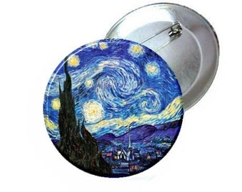 "1"" 1.25"" 2.25"" Pinback Button - Van Gogh Starry Night"