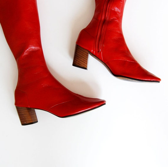 vintage GO GO boot / 1960s red PATENT leather knee high boots