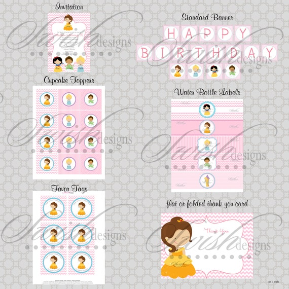 Princess Birthday Party - Printable DIY  Includes custom 5x7 invite, favor tags, cupcake toppers, water bottle labels and more
