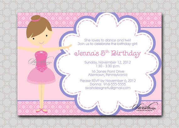 Ballerina Ballet Birthday Invitation --- Ballet toe shoes digital girl pink printable party