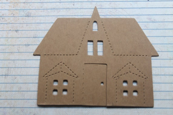 2  Bare chipboard die cuts Large House no. 4 diecuts approx. 4 3/4 inches wide