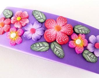 Purple Barrette - Flower Barrette - Polymer Clay Barrette - Millefiori Barrette - Pink Purple Barrette - Pink Flower Barrette