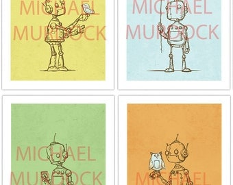 Cute Robot Art Prints - 4 pack - 5x7