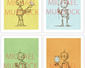 Cute Robot Art Prints - 4 pack - 11x14