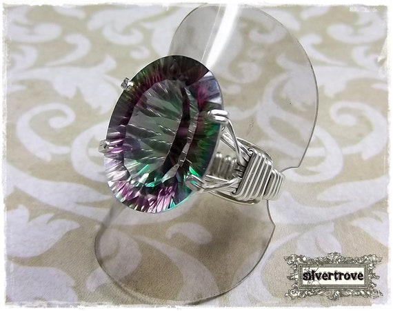 Mystic Topaz Ring Size 8.5 Sterling Silver 12 Carat Oval Gemstone Ring Prong Set Argentium Wire Wrapped - IN STOCK