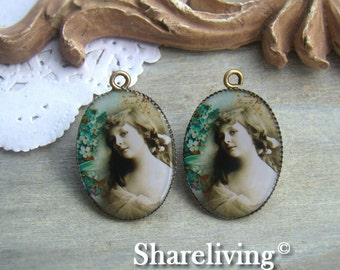 4pcs 18x25mm Handmade Resin Cabochon Pendant With Bronze Base Setting (Vintage Lady) -- RP451B