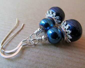 Blue Metallic  and Polymer Clay Beaded Sterling Silver Earrings - Shine On