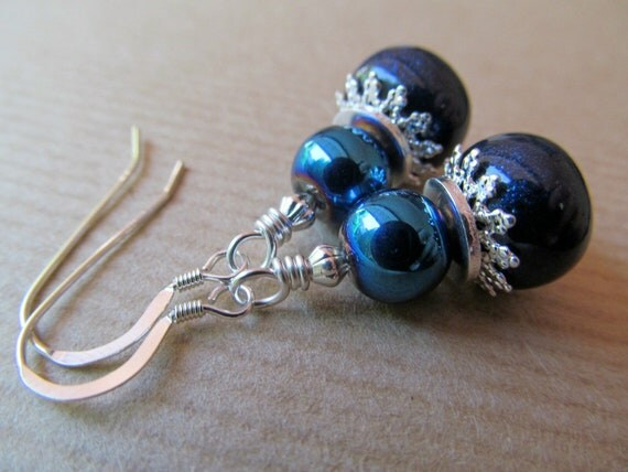 SALE Blue Metallic  and Polymer Clay Beaded Sterling Silver Earrings - Shine On