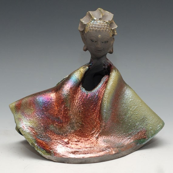 Buddha Statue in a Folded Copper Red Green Raku Wabi Sabi Style Robe