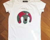 African inspired organic cotton T-shirt for toddlers and children with appliqued wax print Elephant