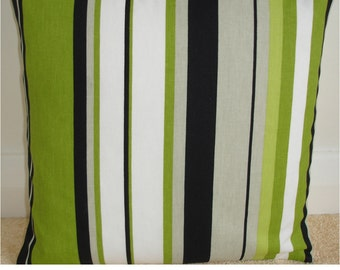 "NEW 24"" Decorative Throw Pillow Cover Lime Green Black White Grey Striped Cushion Case Sham Slip Pillowcase Pillowsham Pillowslip"