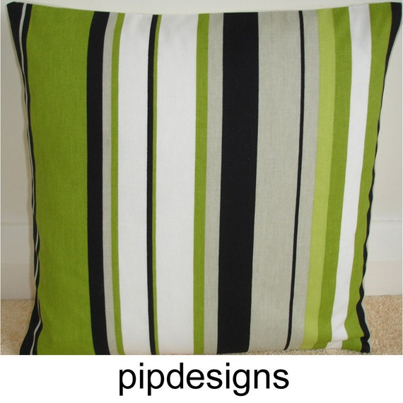 16x16 Pillow Cover Decorative Throw Lime Green Black White