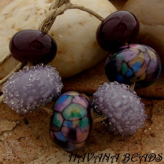 PLUM GORGEOUS Bead Set - Set of 6 Coordinated Handmade Lampwork Beads