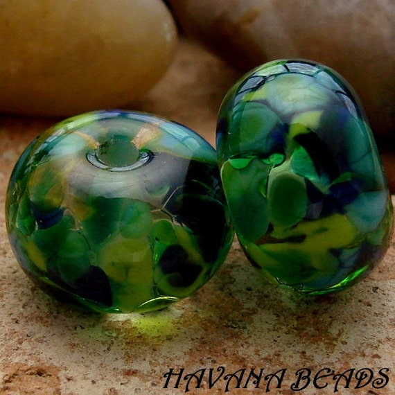 EMERALD SEAS Earring Pair - Set of 2 Handmade Lampwork Beads