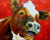 Print Cow 454 10x10 inch Print from oil painting by Roz