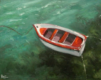 Print Boat 6 16x20inch print of oil painting by Roz