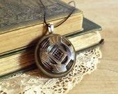 Vintage Button Necklace Brown Parquet Celluloid Pendant Eco Friendly Jewelry Faux Wood Pattern Woodland Accessories Art Deco Geometric