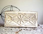 Vintage Purse Beaded Formal Clutch Bon Soir Faux Pearl Evening Bag Italian Beads Hand Made in Japan