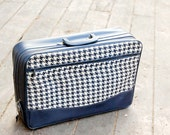 Vintage Luggage Houndstooth Suitcase Vinyl Soft Sided Small Carry on, Navy Blue, Japan