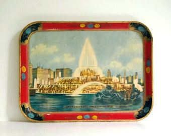 Vintage Papier Mache Tray Alcohol Proof Japanese Housewares Buckingham Fountain, Grant Park, Chicago Travel Souvenir Kitsch Home Decor Paper